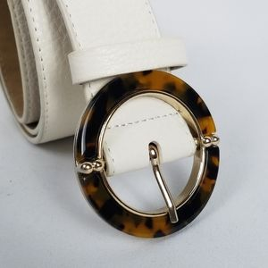 White leather belt faux tortise shell buckle XS